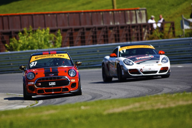 MINI John Cooper Works Team leading RS1 Porsche Cayman at Lime Rock Park 2015