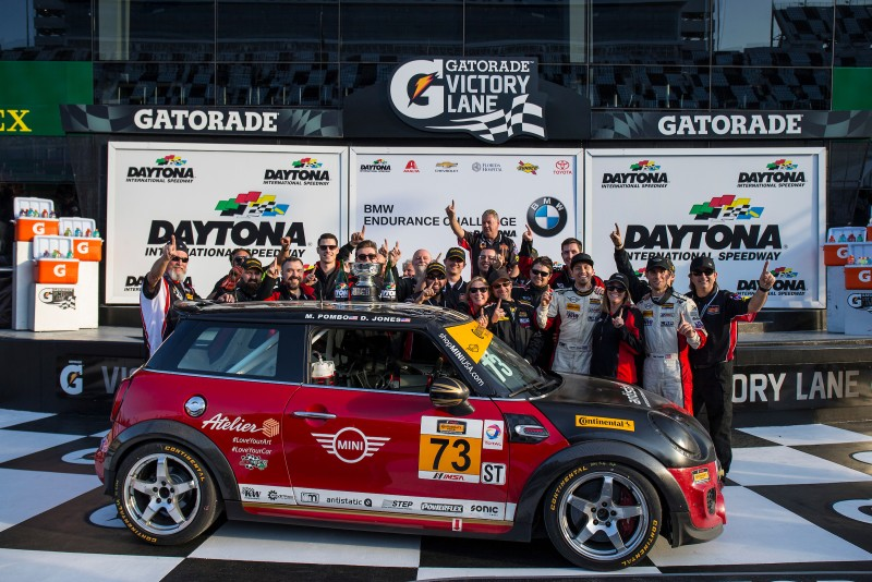 MINI JCW Team celebrates their win at the 2017 BMW Endurance Challenge at Daytona