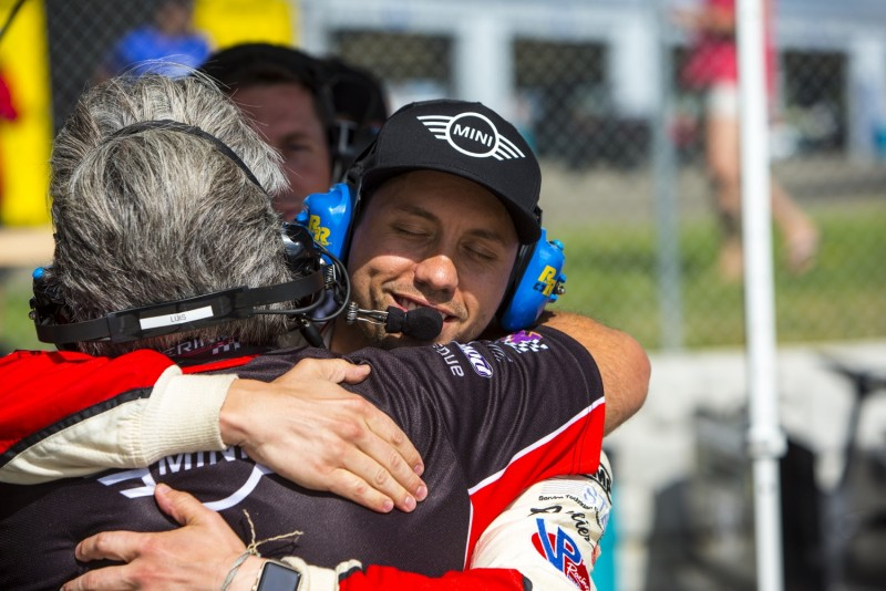 MINI JCW Team Driver Derek Jones congradulates team owner Luis Perocarpi on the 1-2 finish at Watkins Glen
